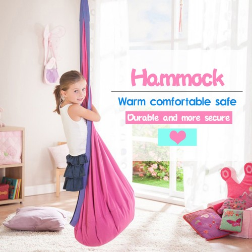 Kids Cotton Hammock Pod Swing Chair For Indoor Outdoor Hanging Comfort