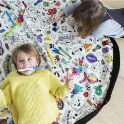 DIY Graffiti Kids Storage Bag Play Mat