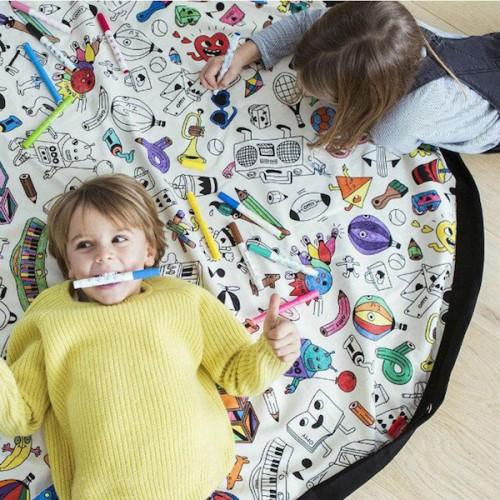 DIY Graffiti Kids Storage Bag Play Mat